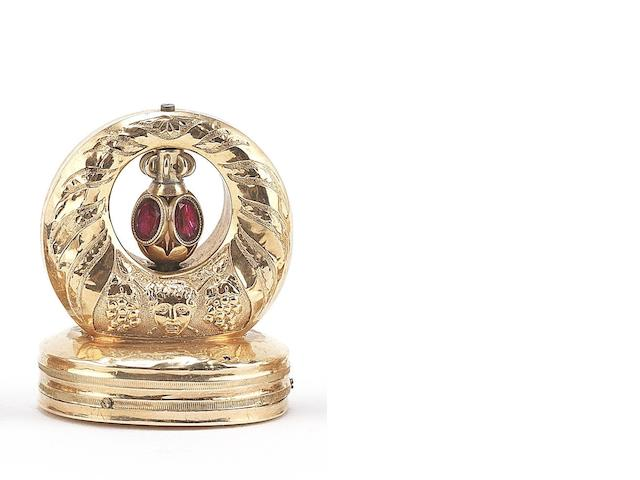 A musical gold fob seal, circa 1870,