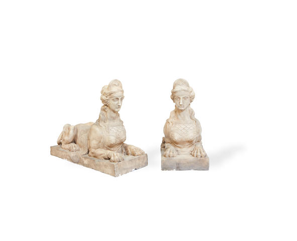 An impressive pair of simulated terracotta composition models of sphinxescast after a design by Robert Adam, possibly from the Coade stone originals