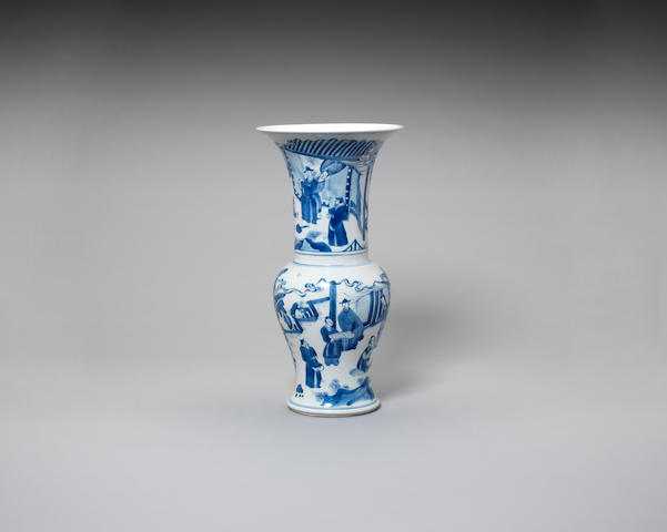 A blue and white yen yen vase