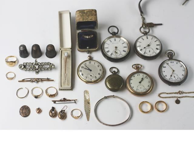 A collection of jewellery and pocket watches,