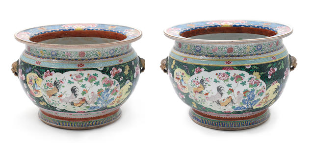 A fine and large pair of famille rose fish bowls 18th/19th century