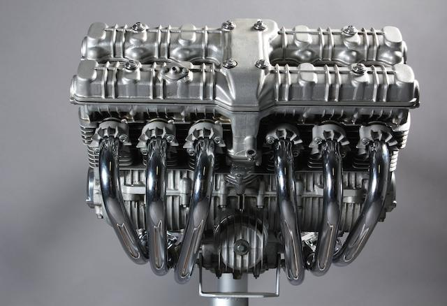 A Honda CBX1000 six-cylinder prototype sandcast engine,