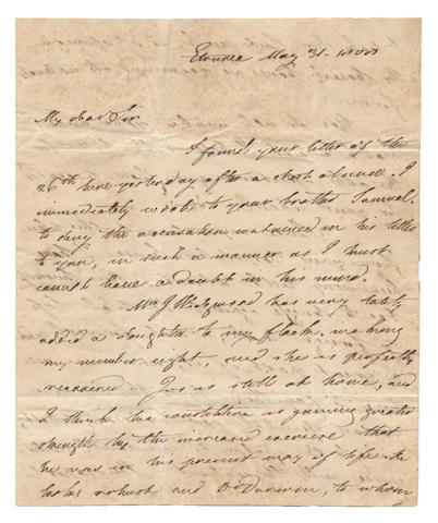 COLERIDGE, WEDGWOOD and DARWIN. Autograph letter signed by Josiah II Wedgwood, to George Coleridge, announcing the birth of a daughter and a visit to Dr Darwin, 1808