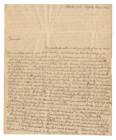 COLERIDGE (HARTLEY) Three autograph letters signed, to his uncle George, 1815-1820