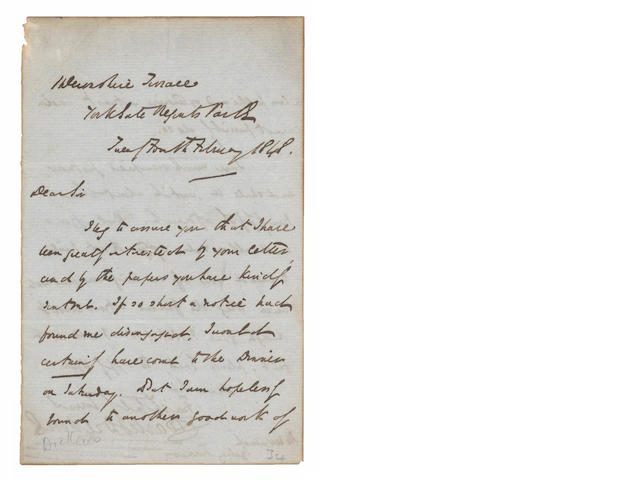 DICKENS (CHARLES) Autograph letter signed, to the Rev Sydney Turner, 1848