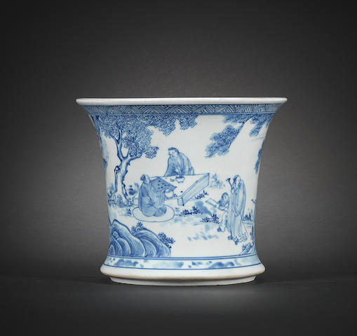 A fine and rare blue and white flaring brushpot, bitong Early Kangxi, two-character mark Qing Wan