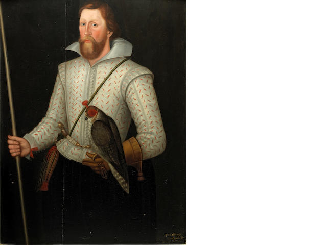 English School, early 17th Century Portrait of Sir Thomas Monson (1563/4-1641), three-quarter-length, in a slashed white doublet, girdled with a sword, holding a falcon and his wand of office