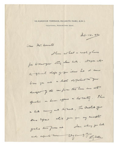 """WELLS (H.G.) Autograph letter signed (""""H.G. Wells""""), to [Dr R.L.] Worrall, 1942"""