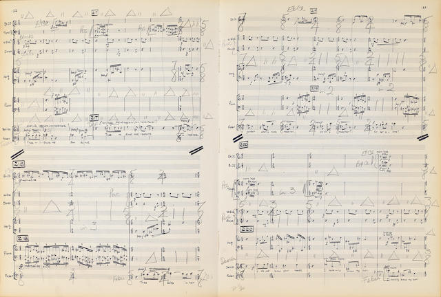 TIPPETT (MICHAEL) Colin Davis's conducting score used for rehearsing the first performance of Tippett's The Knot Garden, signed by Michael Tippett, 1970