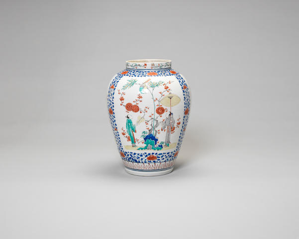 A fine and rare Kakiemon oviform vase Edo Period, circa 1680