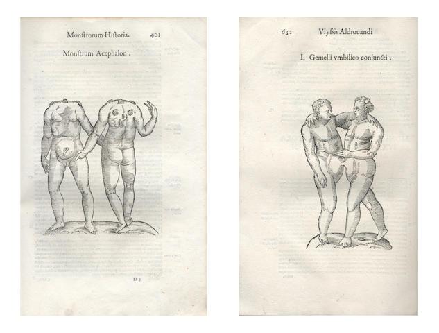 ALDROVANDI (ULISSE) Monstrorum historia. Cum paralipomenis historiae omnium animalium Bartholomaeus Ambtosinus ... volumen composuit, 2 parts in one vol., FIRST EDITION, 1642