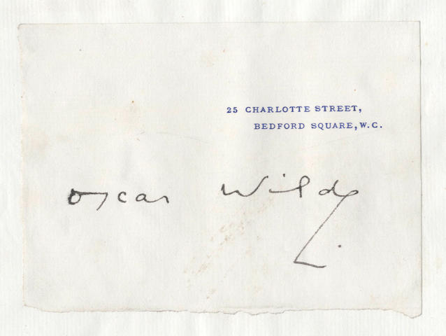 WILDE, RUSKIN and MILL. Collection comprising a presentation signature of Wilde, autograph letter by Ruskin etc.