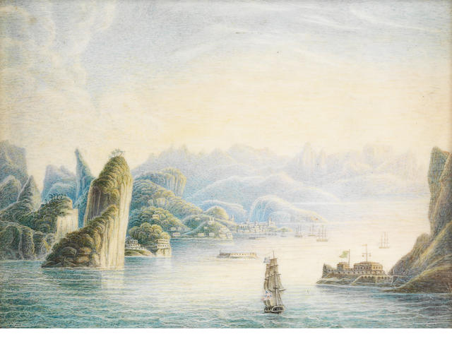 An ivory painted panel with view of a fort and city 19th century