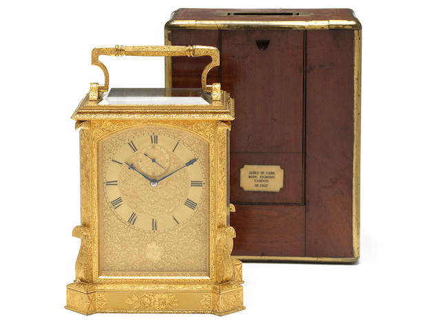 A rare and fine mid 19th century engraved quarter striking giant carriage clock with the original brass bound mahogany case James McCabe, Royal Exchange, London, number 2927