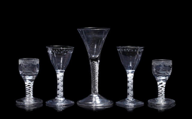 An airtwist wine glass, a pair of opaque-twist wine glasses and a pair of opaque-twist cordial glasses, late 18th century