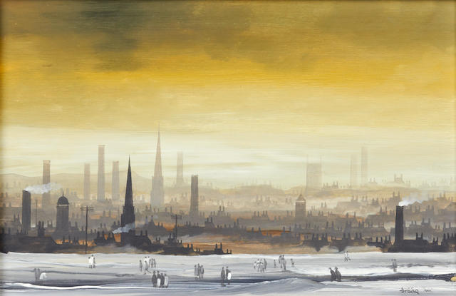 Brian Shields  (Braaq) (British, 1951-1997) Northern town in winter, dusk