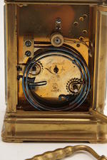 A 19th century brass cased repeating quarter-striking carriage clock The movement bearing the stamp of Henri Jacot
