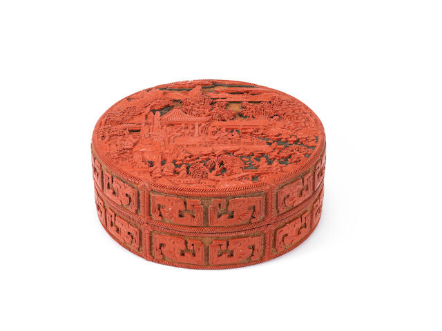 An Imperial three-colour circular lacquer box and cover Qianlong