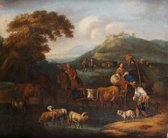 Circle of Michiel Carrée (The Hague 1657-1727 Alkmaar) Travellers on a path before an Italianate landscape