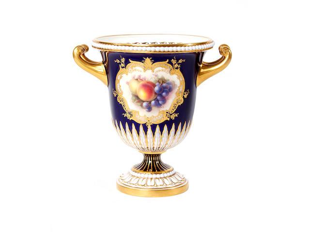 A Royal Worcester urn-shaped vase by Richard Sebright, dated 1910