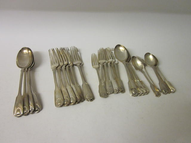 A composite canteen of fiddle thread and shell pattern silver flatware, London 1859, 1864  (28)