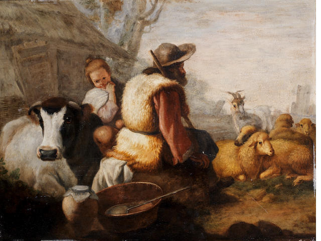 Circle of Francesco Londonio (Milan 1723-1783) Drovers resting with their flock; and Peasants grazing cattle (2)