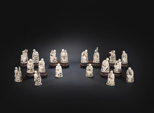 A rare complete set of carved ivory figures of the Eighteen Luohan 18th century