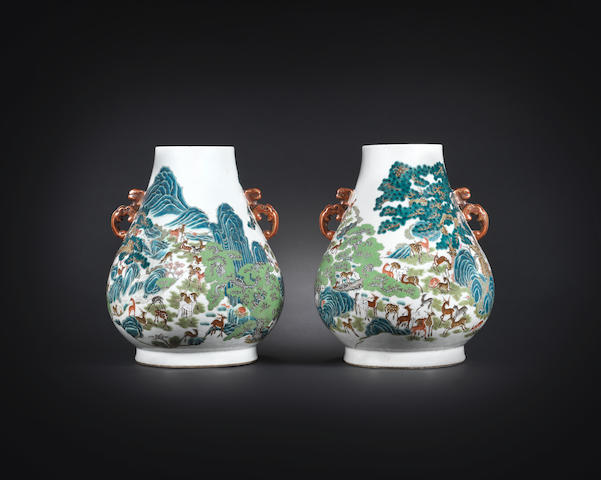 A fine pair of famille rose 'hundred deer' vases Qianlong seal marks, 19th century