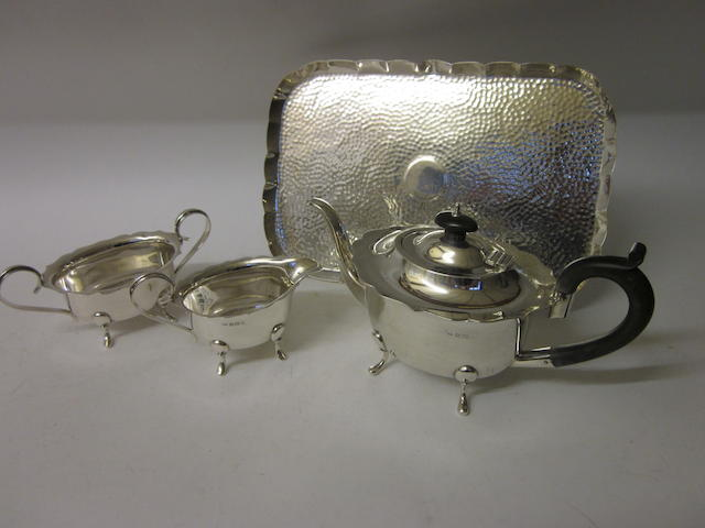 A three piece silver tea service, Birmingham 1933,  (4)