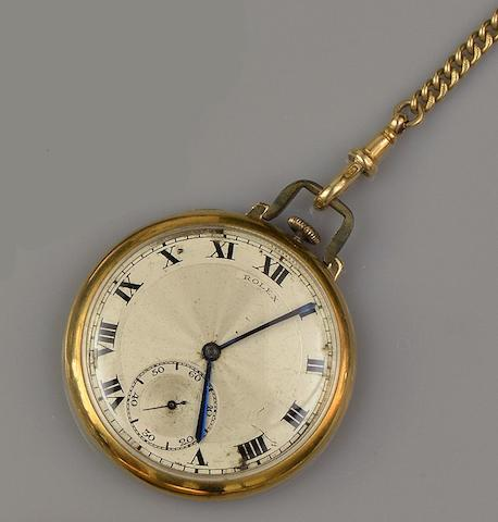 Rolex: An 18ct gold open face pocket watch with chain(2)