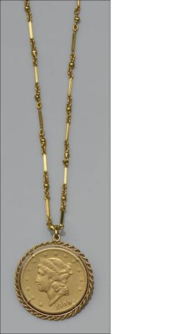 An American 20 dollar coin pendant on chain