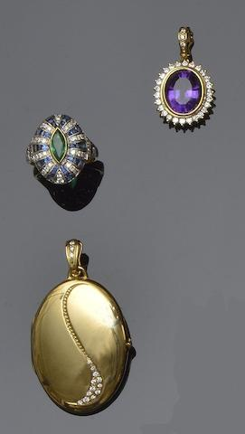 An amethyst pendant, a locket/pendant and an emerald and diamond cluster ring (3)
