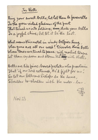 "SASSOON (SIEGFRIED) Autograph draft of his Great War poem ""Joy Bells"", written at Craiglockhart, 1917"