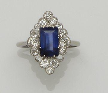 An Art Deco style sapphire and diamond dress ring