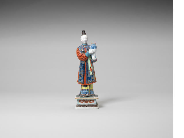 A polychrome nodding-head court lady candle holder Qianlong