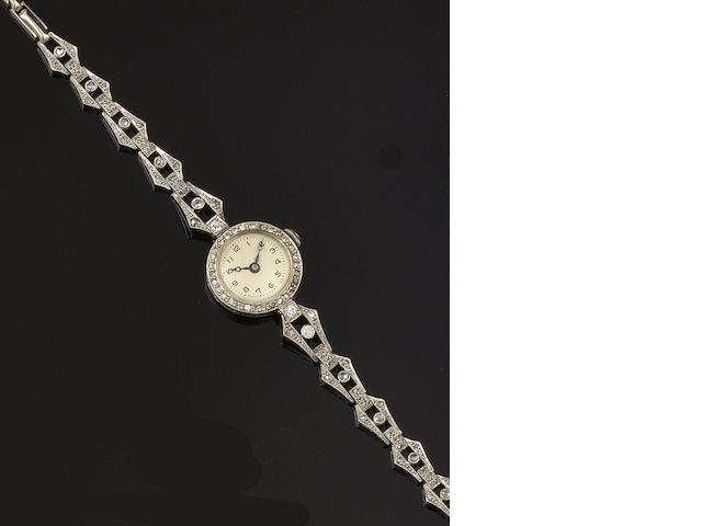 A lady's diamond set wristwatch