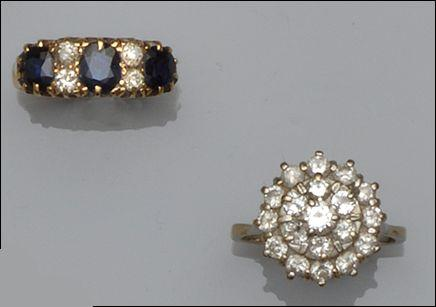 A diamond cluster ring and a sapphire and diamond half hoop ring (2)