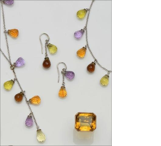 A vari gem-set necklace, bracelet and earrings suite and a citrine ring (4)