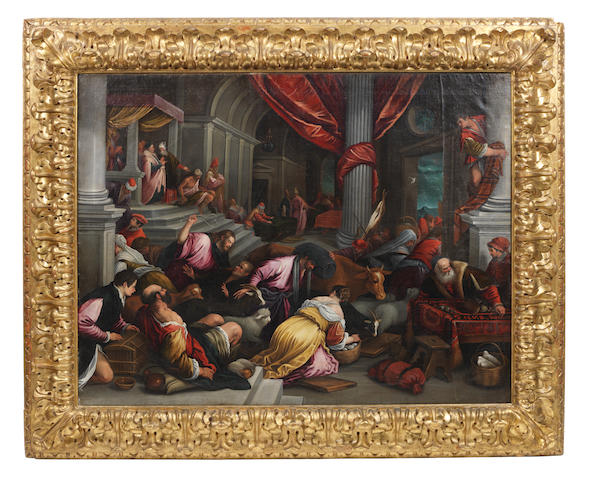 Manner of the Bassano Family, 18th Century Christ Driving the Money Lenders from the Temple in a carved and gilt 17th Century frame