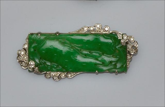 A jade and diamond panel brooch
