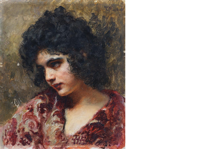 Attributed to Konstantin Egorovich Makovsky (Russian, 1839-1915) Gypsy girl