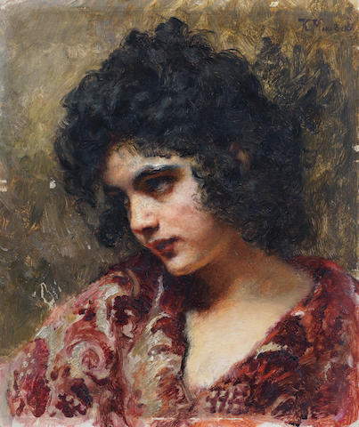 Attributed to Konstantin Egorovich Makovsky (Russian, 1839-1915) Gypsy girl