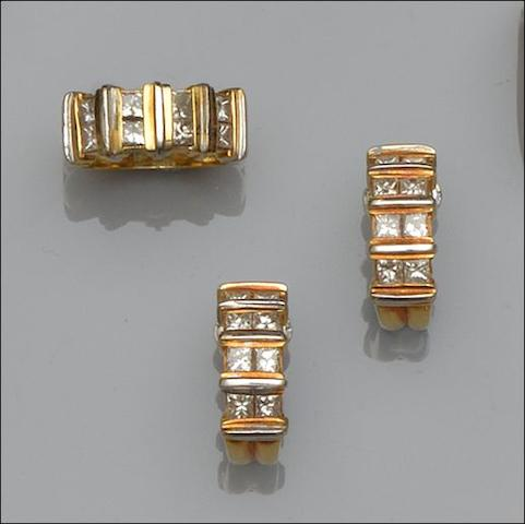 A diamond half-hoop ring and earring suite (2)
