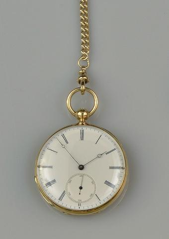 A French open face fob watch on 9ct gold Albert chain