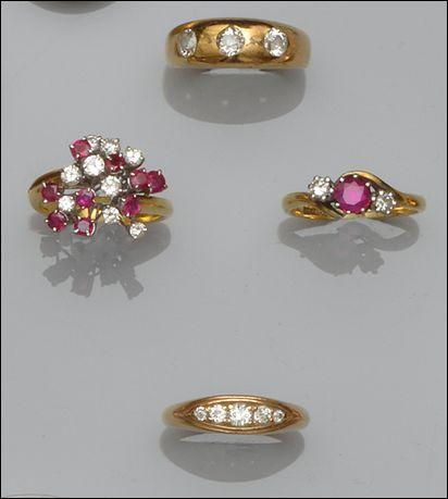 Two diamond set rings and two ruby and diamond set rings (4)
