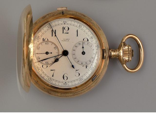An early 20th century chronograph hunter pocket watch