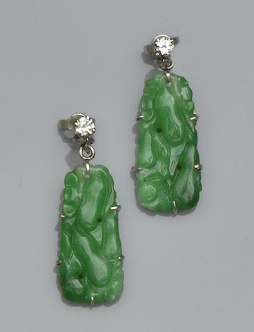 A pair of jade and diamond earpendants