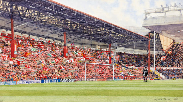 1994 'Last game on the Kop' Anfield original painting Frank Green