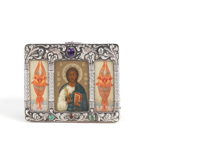 Christ Pantocrator flanked by stylized angels with the attributes of the Evangelists Russian, maker's initials KK for Kosima Konov, Moscow, 1908-1917