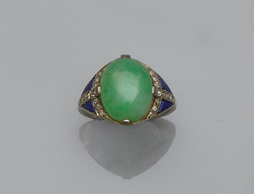 A French jade, lapis lazuli and diamond dress ring (2)